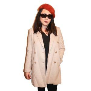 NEW Zara Soft Sand Coat with Lapels - Medium